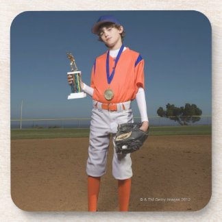 Baseball player with trophy and medal beverage coaster