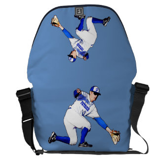 Baseball Player With Your Name Or Monogram Courier Bag