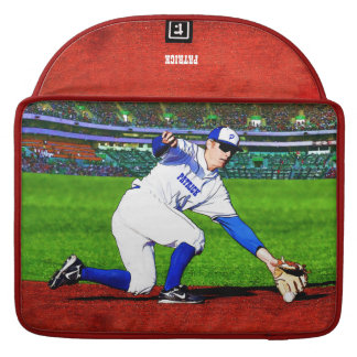 Baseball Player With Your Name Or Monogram MacBook Pro Sleeve