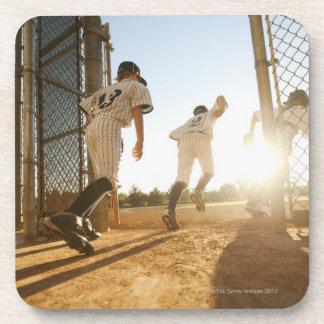 Baseball players (10-11) entering baseball drink coaster
