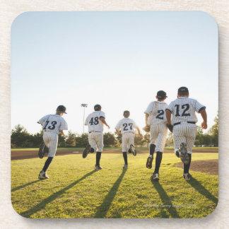 Baseball players (10-11) running on baseball coaster