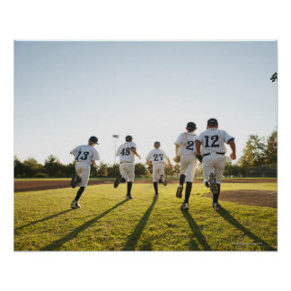 Baseball players (10-11) running on baseball poster