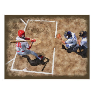 Baseball Players First Base Watercolor Painting Poster