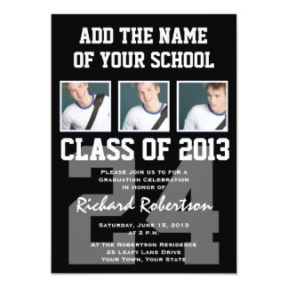 Baseball Player's Graduation with Uniform Number 5x7 Paper Invitation Card