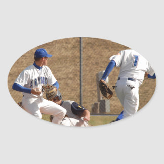 Baseball players on the field photo oval sticker