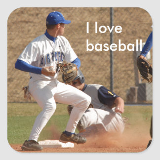 Baseball players on the field photo square sticker