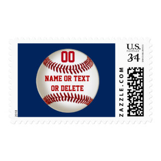 Baseball Postage Stamps with Your TEXT and COLORS