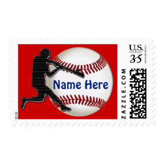 Baseball Postage Stamps YOUR NAME and TEAM COLORS