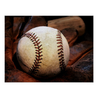 Baseball Posters - Baseball Glove & Ball