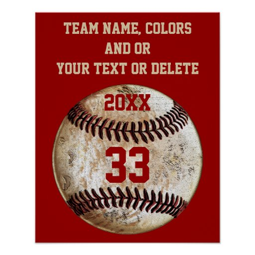 Baseball posters team colors team player 39 s name poster for Personalized last name university shirts