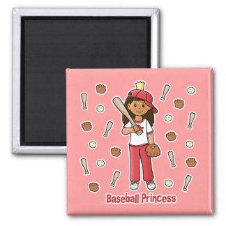 Baseball Princess 2 Inch Square Magnet