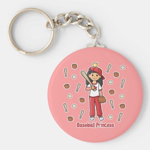 Baseball Princess Basic Round Button Keychain