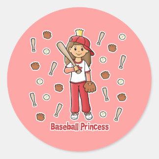 Baseball Princess Classic Round Sticker