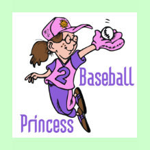 Baseball Princess T-shirt - A cute cartoon girl baseball player in a purple and pink baseball uniform and hat catches the ball in her glove - perfect for female baseball players of every age!