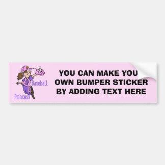Baseball Princess T shirts and Gifts Car Bumper Sticker