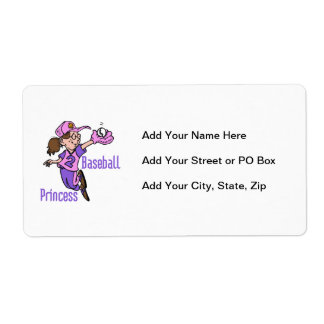 Baseball Princess T shirts and Gifts Shipping Label