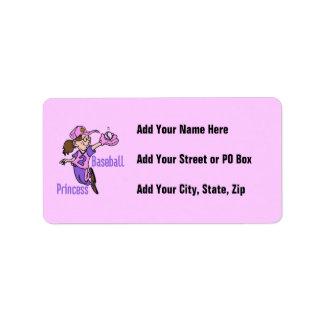 Baseball Princess T shirts and Gifts Address Label