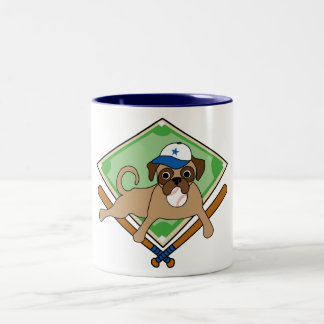 Baseball Pug (blue) customizable Mugs