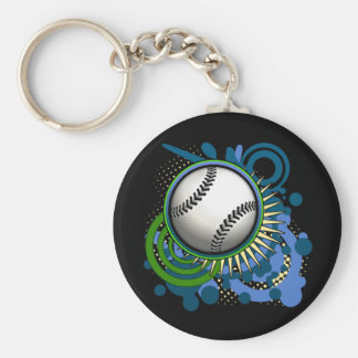 Baseball Punk Circles Blue Keychain