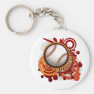 Baseball Punk Circles Red Keychain