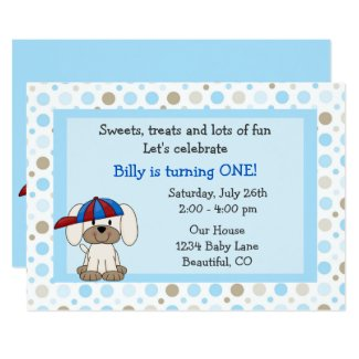 Baseball Puppy 1st Birthday Invitation for Boys