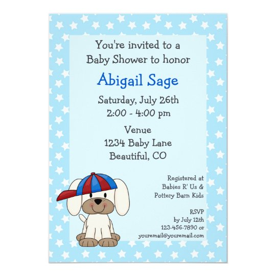 Baseball puppy baby boy shower invitation zazzle baseball puppy baby boy shower invitation filmwisefo