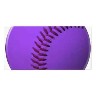 Baseball Purple Custom Photo Card
