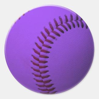 Baseball Purple Round Stickers