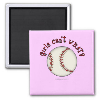 Baseball-Red 2 Inch Square Magnet