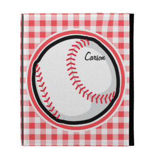 Baseball Red and White Gingham iPad Cases