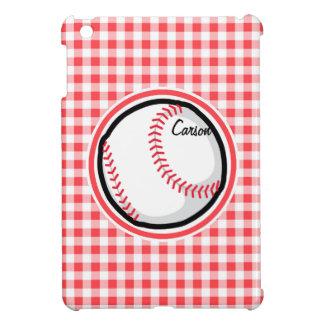 Baseball Red and White Gingham iPad Mini Covers