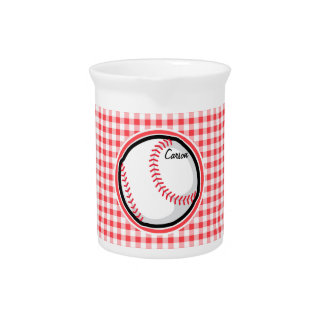 Baseball; Red and White Gingham Drink Pitcher