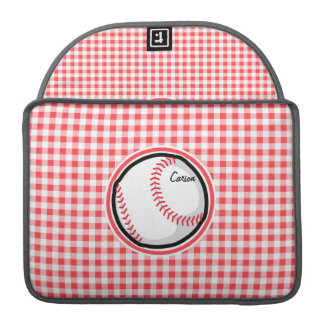 Baseball; Red and White Gingham Sleeve For MacBooks