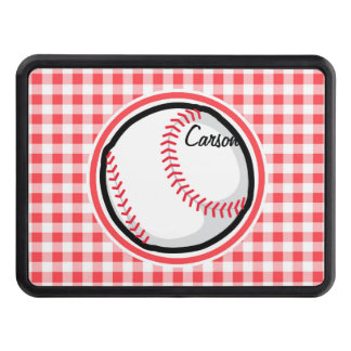Baseball; Red and White Gingham Tow Hitch Cover