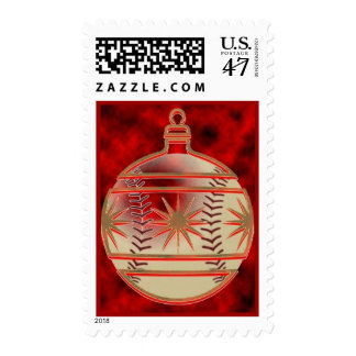 Baseball red ornament postage