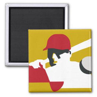 Baseball retro art 2 inch square magnet