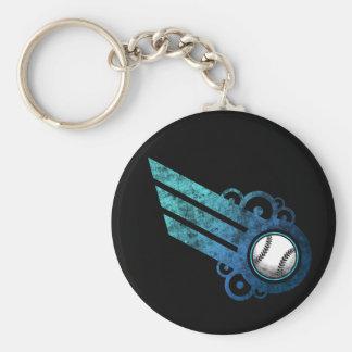 Baseball Retro Stripe Blue Keychain