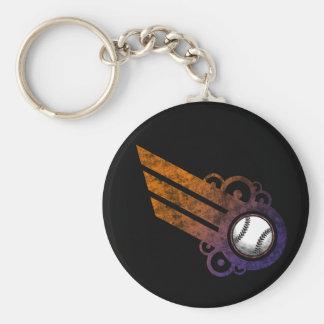 Baseball Retro Stripe Orange Keychain