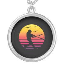 baseball retro sunset, #baseball silver plated necklace