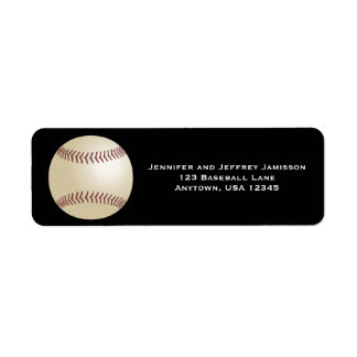 Baseball Return Address Labels on Black