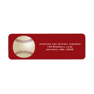 Baseball Return Address Labels on Red
