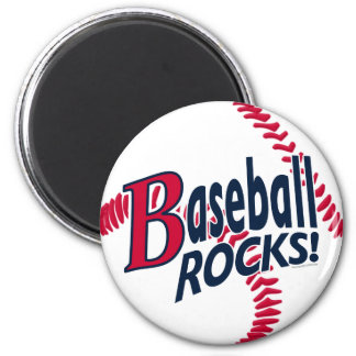 Baseball Rocks by Mudge Studios 2 Inch Round Magnet