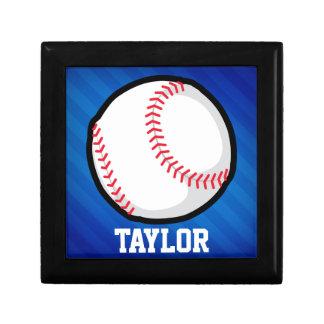 Baseball; Royal Blue Stripes Keepsake Boxes