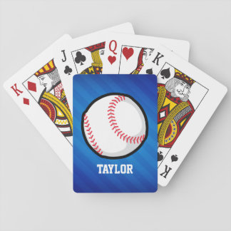 Baseball; Royal Blue Stripes Playing Cards