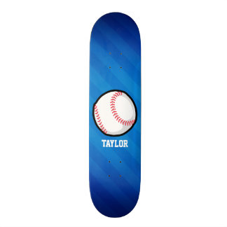 Baseball; Royal Blue Stripes Skate Board Deck