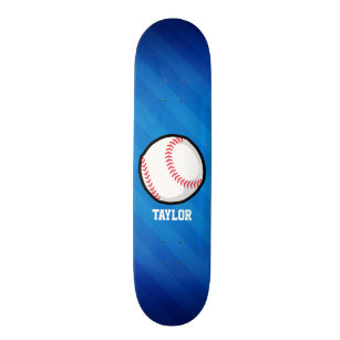 Baseball; Royal Blue Stripes Skateboard