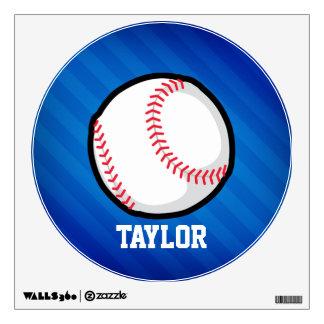 Baseball; Royal Blue Stripes Wall Graphic
