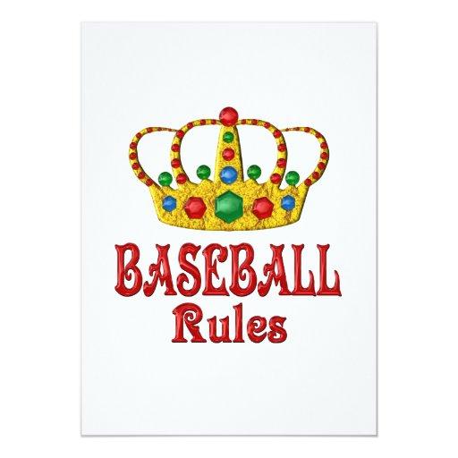 BASEBALL RULES 5X7 PAPER INVITATION CARD