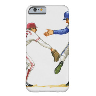 Baseball runner and fielder at a base barely there iPhone 6 case