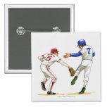 Baseball runner and fielder at a base button